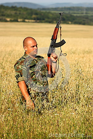 Soldier in a field
