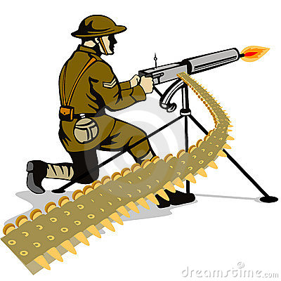 Free Soldier Firing A Machine Gun Stock Image - 4006161