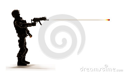 Soldier firing weapon