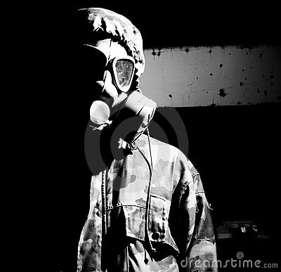 Soldier in gasmask