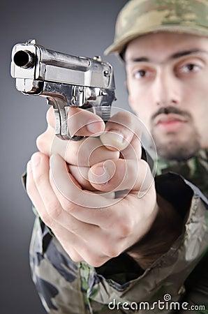 Soldier with gun in studio