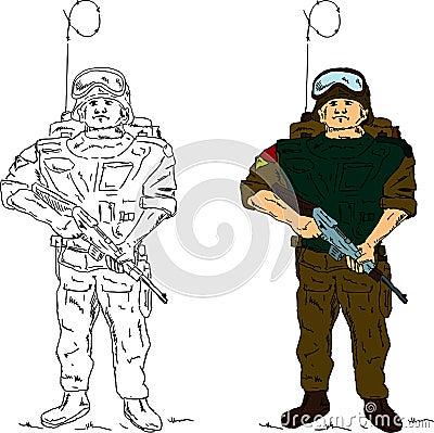 A soldier holding gun