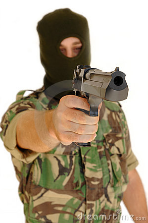 Soldier holding a pistol