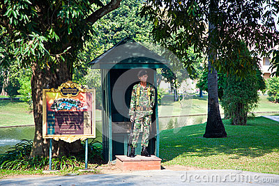Soldier of the Kings Guard in the Summer Palace Bang Pa In in Ayutthaya Editorial Photo