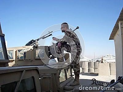Soldier looking far away