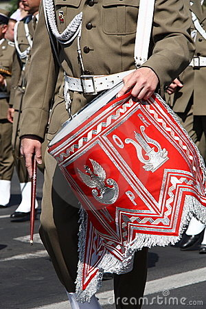 Soldier marching with drum