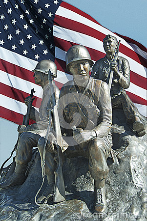 Soldier Memorial with Flag