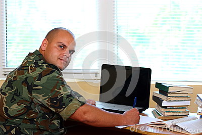 Soldier in office