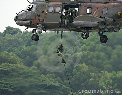 Soldier Repelling From Helicopter Editorial Stock Image