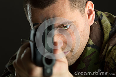 Soldier with rifle AK-47