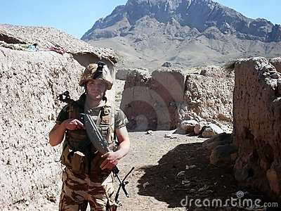 Soldier on a road