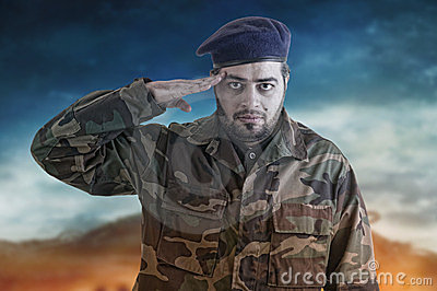Soldier Salutes ready to serve and sacrifice