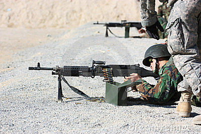 Soldier shooting Editorial Stock Photo