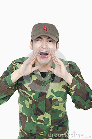 Soldier Shouting, China, Studio Shot