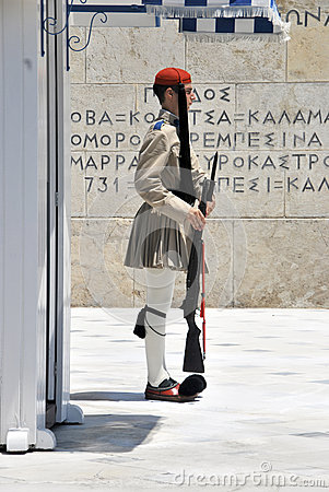 Soldier standing in Athens Editorial Photography