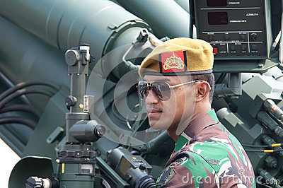 Soldier with tank Editorial Photography