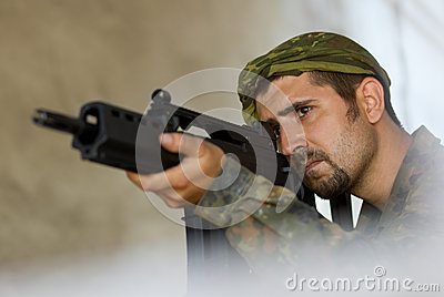 Soldier targeting with a gun