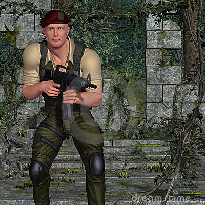 Soldier with weapon