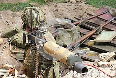 Soldier ww2 with gun Editorial Photo
