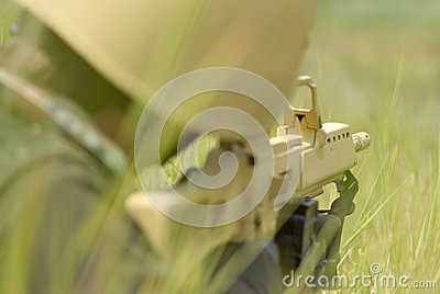Soldier in yellow camo targeting
