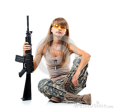 Free Soldier Young  Beautiful Girl Dressed In A Camouflage With A Gun Royalty Free Stock Photo - 32884485