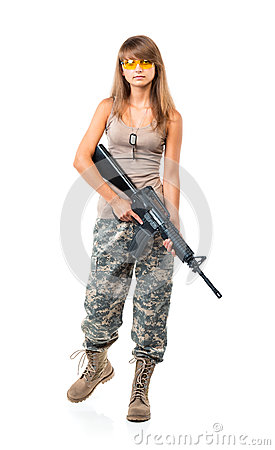 Free Soldier Young Beautiful Girl Dressed In A Camouflage With A Gun Royalty Free Stock Image - 33824326