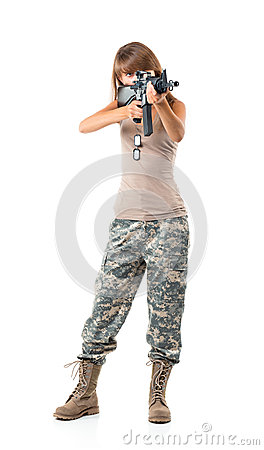 Free Soldier Young Beautiful Girl Dressed In A Camouflage With A Gun Royalty Free Stock Photo - 33824335