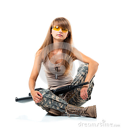 Free Soldier Young Beautiful Girl Dressed In A Camouflage With A Gun Stock Image - 34458781