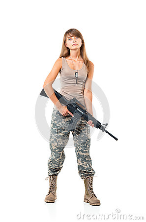 Free Soldier Young Beautiful Girl Dressed In A Camouflage With A Gun Stock Image - 35112321