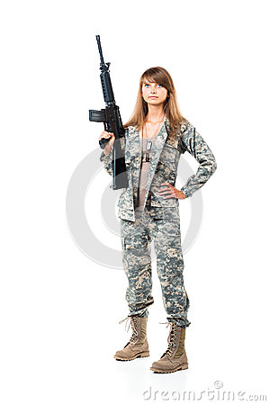 Free Soldier Young Beautyful Girl Dressed In A Camouflage With A Gun Royalty Free Stock Photo - 37445435
