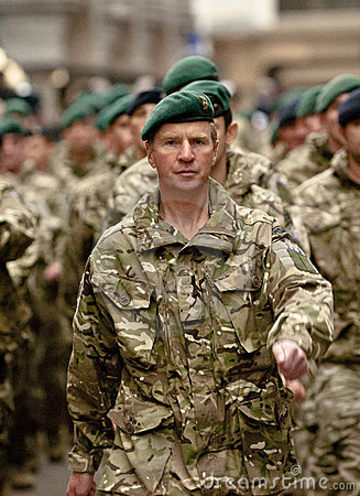 Soldiers from 3 Commando Brigade marching Editorial Image