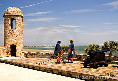 Soldiers and cannon at fort