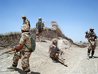 Soldiers clearing the area
