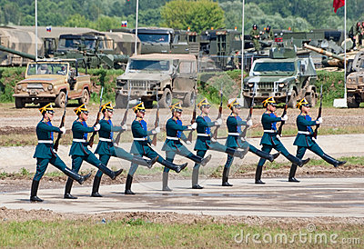 Soldiers demonstrate ceremonial movements Editorial Photography