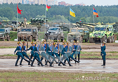 Soldiers demonstrate ceremonial movements Editorial Stock Image