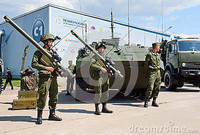 Soldiers demonstrate military equipment Editorial Image
