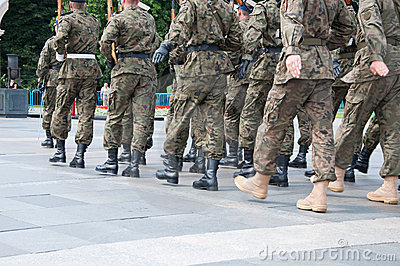 Soldiers during the drill on the square