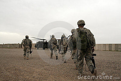 Soldiers in Helicopter in Iraq Editorial Stock Image