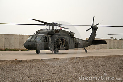 Soldiers in Helicopter in Iraq Editorial Image