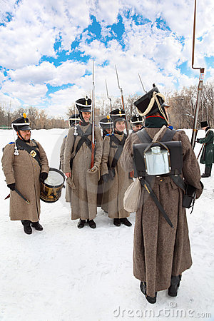 Soldiers at historical reconstruction Editorial Stock Photo