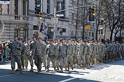 Soldiers marching in NYC St. Pat s Day Parade Editorial Stock Image