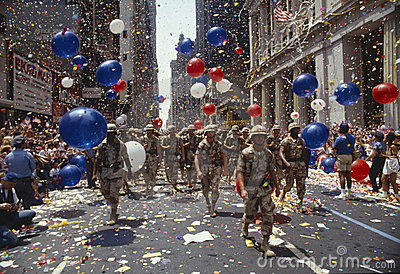 Soldiers marching in ticker tape parade, NY Editorial Stock Photo