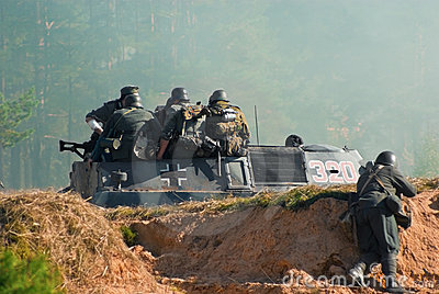 Soldiers on a military armoured vehicle Editorial Stock Image