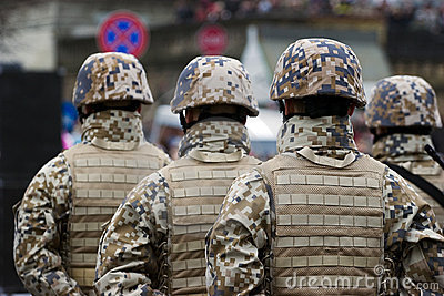 Soldiers at the Military parade Editorial Photography