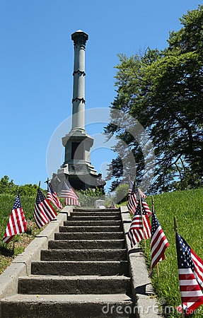 Soldiers monument at the Battle Hill at the Green-Wood cemetery in Brooklyn Editorial Image