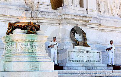 Soldiers near the Tomb of the Unknown Soldier, Rome, Italy Editorial Photo
