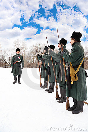 Soldiers in overcoats at historical reconstruction Editorial Image