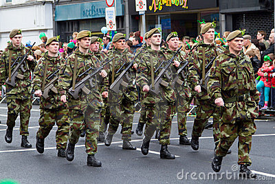 Soldiers in a parade for St. Patrick s Day Editorial Stock Image