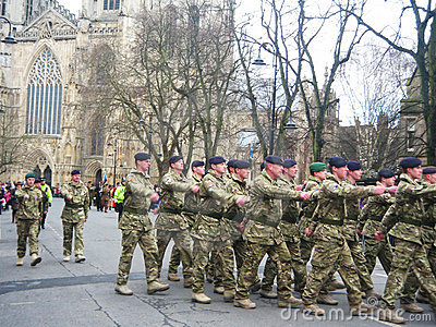 Soldiers on parade in York, England Editorial Stock Photo