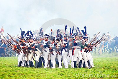 Soldiers ready to attack at historical reenactment Editorial Stock Image